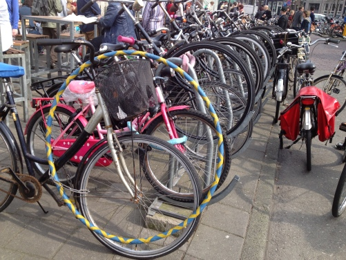 bike in Amsterdam with hula hoop